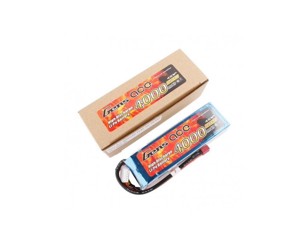 Gens ace Batería LiPo 4S 14.8V-4000-30C(Deans) 142x42x32mm 370g